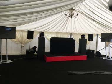 black and red stage